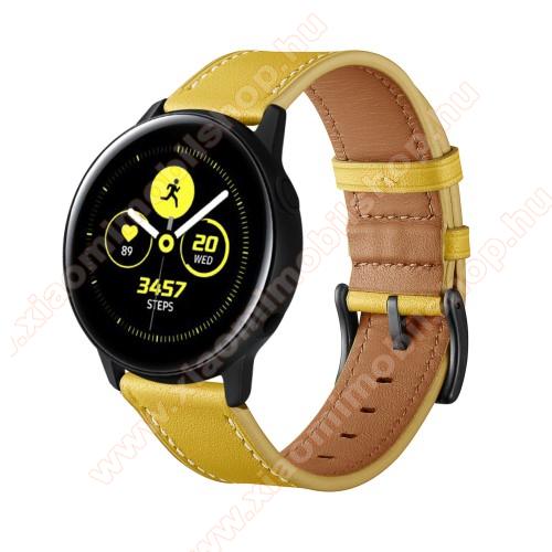 Xiaomi Amazfit GTR 42mmOkosóra szíj - CITROMSÁRGA - valódi bőr - 80mm + 120mm hosszú, 20mm széles - SAMSUNG Galaxy Watch 42mm / Xiaomi Amazfit GTS / HUAWEI Watch GT / SAMSUNG Gear S2 / HUAWEI Watch GT 2 42mm / Galaxy Watch Active / Active 2