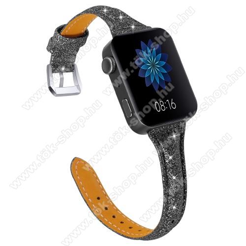 Okosóra szíj - CSILLOGÓ FLITTER MINTÁS - FEKETE - valódi bőr, 116 + 91mm hosszú, 139-203mm átmérőjű csuklóméretig - Xiaomi Mi Watch