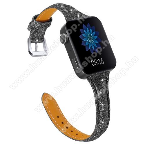 HUAWEI TalkBand B5Okosóra szíj - CSILLOGÓ FLITTER MINTÁS - FEKETE - valódi bőr, 116 + 91mm hosszú, 18mm széles, 139-203mm átmérőjű csuklóméretig - Xiaomi Mi Watch / Fossil Gen 4 / HUAWEI TalkBand B5