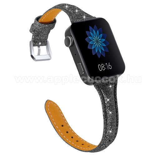 Okosóra szíj - CSILLOGÓ FLITTER MINTÁS - FEKETE - valódi bőr, 116 + 91mm hosszú, 18mm széles, 139-203mm átmérőjű csuklóméretig - Xiaomi Mi Watch (For China Market) / Fossil Gen 4 / HUAWEI TalkBand B5
