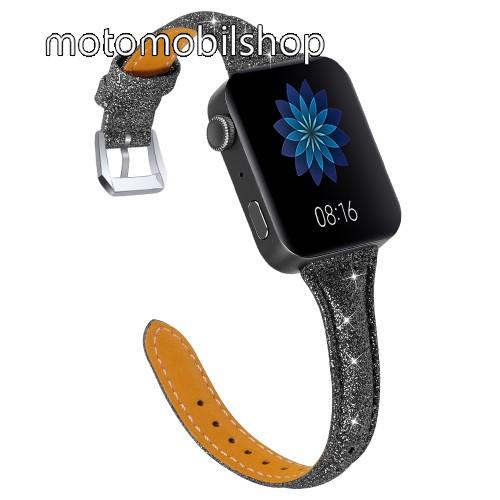 Okosóra szíj - CSILLOGÓ FLITTER MINTÁS - FEKETE - valódi bőr, 116 + 91mm hosszú, 18mm széles, 139-203mm átmérőjű csuklóméretig - Xiaomi Mi Watch / Fitbit Charge 3 / Fossil Gen 4 / HUAWEI TalkBand B5