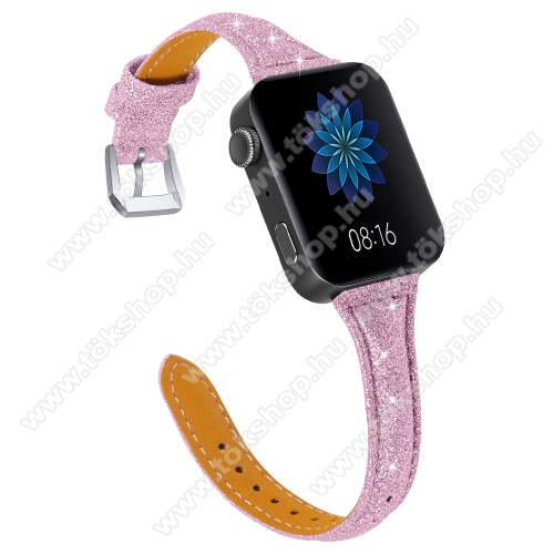 Okosóra szíj - CSILLOGÓ FLITTER MINTÁS - RÓZSASZÍN - valódi bőr, 116 + 91mm hosszú, 18mm széles, 139-203mm átmérőjű csuklóméretig - Xiaomi Mi Watch (For China Market) / Fossil Gen 4 / HUAWEI TalkBand B5