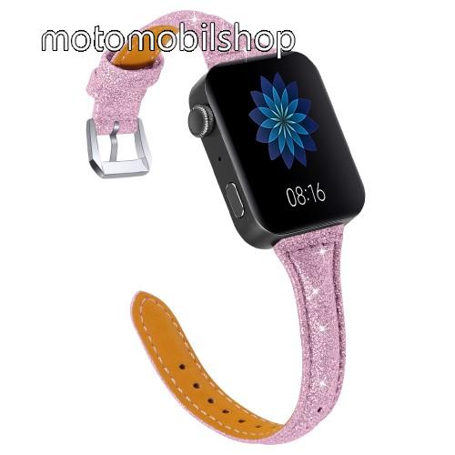Okosóra szíj - CSILLOGÓ FLITTER MINTÁS - RÓZSASZÍN - valódi bőr, 116 + 91mm hosszú, 18mm széles, 139-203mm átmérőjű csuklóméretig - Xiaomi Mi Watch / Fitbit Charge 3 / Fossil Gen 4 / HUAWEI TalkBand B5