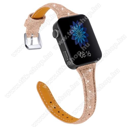Okosóra szíj - CSILLOGÓ FLITTER MINTÁS - ROSE GOLD - valódi bőr, 116 + 91mm hosszú, 139-203mm átmérőjű csuklóméretig - Xiaomi Mi Watch