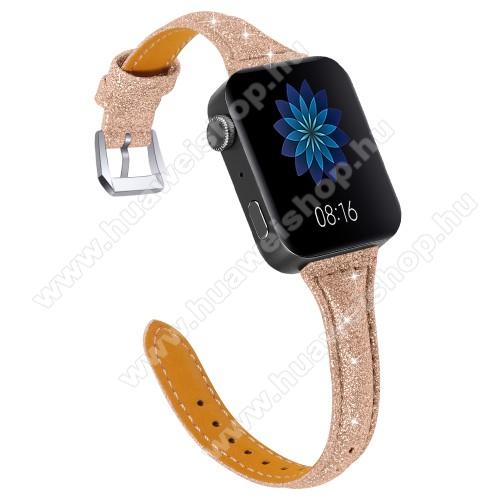 HUAWEI TalkBand B5Okosóra szíj - CSILLOGÓ FLITTER MINTÁS - ROSE GOLD - valódi bőr, 116 + 91mm hosszú, 18mm széles, 139-203mm átmérőjű csuklóméretig - Xiaomi Mi Watch / Fossil Gen 4 / HUAWEI TalkBand B5