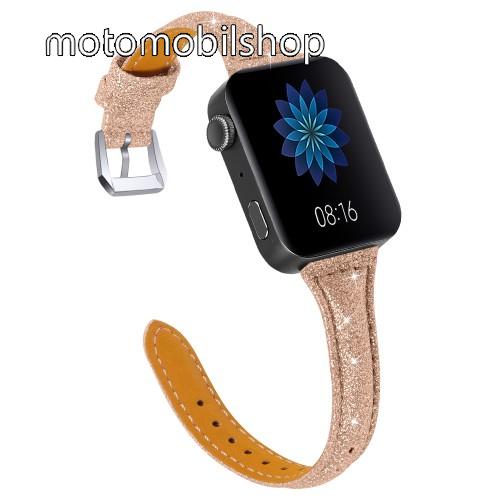 Okosóra szíj - CSILLOGÓ FLITTER MINTÁS - ROSE GOLD - valódi bőr, 116 + 91mm hosszú, 18mm széles, 139-203mm átmérőjű csuklóméretig - Xiaomi Mi Watch / Fitbit Charge 3 / Fossil Gen 4 / HUAWEI TalkBand B5