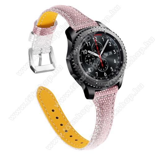 Okosóra szíj - CSILLOGÓ FLITTER MINTÁS - RÓZSASZÍN - valódi bőr, 115 + 75mm hosszú, 22mm széles - SAMSUNG Galaxy Watch 46mm / SAMSUNG Gear S3 Classic / Gear S3 Frontier / Honor MagicWatch 2 46mm