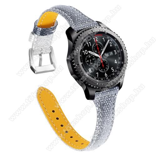 Okosóra szíj - CSILLOGÓ FLITTER MINTÁS - SZÜRKE - valódi bőr, 115 + 75mm hosszú, 22mm széles - SAMSUNG Galaxy Watch 46mm / SAMSUNG Gear S3 Classic / Gear S3 Frontier / Honor MagicWatch 2 46mm