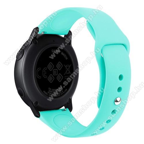SAMSUNG SM-R600 Galaxy Gear SportOkosóra szíj - CYAN - szilikon - 95mm + 130mm hosszú, 20mm széles, 170mm-től 225mm-es méretű csuklóig ajánlott - SAMSUNG Galaxy Watch 42mm / Xiaomi Amazfit GTS / HUAWEI Watch GT / SAMSUNG Gear S2 / HUAWEI Watch GT 2 42mm / Galaxy Watch Active / Active  2