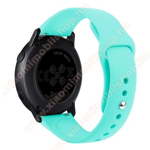 Xiaomi Amazfit GTSOkosóra szíj - CYAN - szilikon - 95mm + 130mm hosszú, 20mm széles, 170mm-től 225mm-es méretű csuklóig ajánlott - SAMSUNG Galaxy Watch 42mm / Xiaomi Amazfit GTS / SAMSUNG Gear S2 / HUAWEI Watch GT 2 42mm / Galaxy Watch Active / Active 2