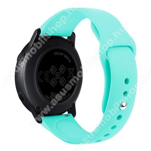 Okosóra szíj - CYAN - szilikon - 95mm + 130mm hosszú, 20mm széles, 170mm-től 225mm-es méretű csuklóig ajánlott - SAMSUNG Galaxy Watch 42mm / Xiaomi Amazfit GTS / HUAWEI Watch GT / SAMSUNG Gear S2 / HUAWEI Watch GT 2 42mm / Galaxy Watch Active / Active  2