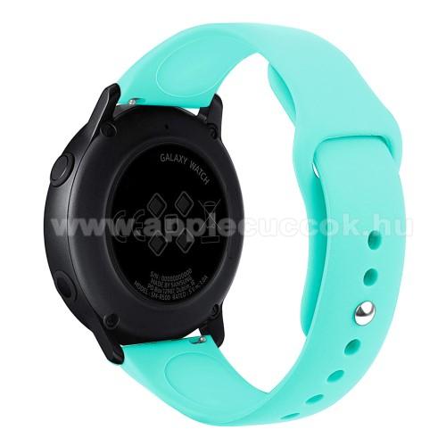 Okosóra szíj - CYAN - szilikon - 95mm + 130mm hosszú, 20mm széles, 170mm-től 225mm-es méretű csuklóig ajánlott - SAMSUNG SM-R500 Galaxy Watch Active / SAMSUNG Galaxy Watch Active2 40mm / SAMSUNG Galaxy Watch Active2 44mm