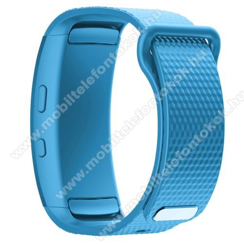 Okosóra szíj - ÉGSZÍNKÉK - szilikon, L-es méret, 90mm+123mm hosszú, 150mm-től 213mm-es méretű csuklóig ajánlott - SAMSUNG Gear Fit 2 SM-R360 / Samsung Gear Fit 2 Pro SM-R365