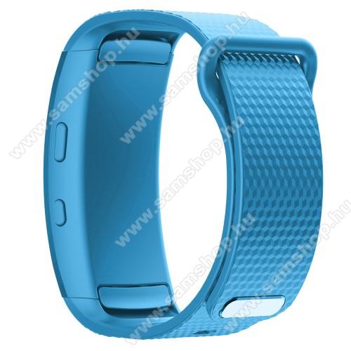Okosóra szíj - ÉGSZÍNKÉK - szilikon, S-es méret, 95mm+90mm hosszú, 126mm-től 175mm-es méretű csuklóig ajánlott - SAMSUNG Gear Fit 2 SM-R360 / Samsung Gear Fit 2 Pro SM-R365