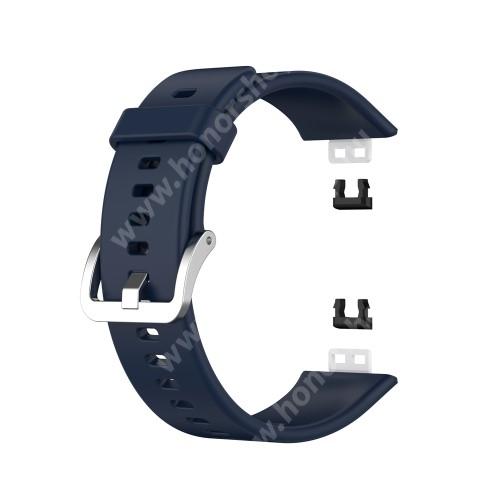 Okosóra szíj - ÉJKÉK - szilikon, 120 + 89mm hosszú, 22.7mm széles - HUAWEI Watch Fit