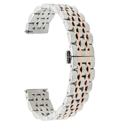HUAWEI Watch GT 46mm Okosóra szíj - EZÜST / ROSE GOLD - rozsdamentes acél, speciális pillangó csat - 185mm hosszú, 22mm széles - SAMSUNG Galaxy Watch 46mm / SAMSUNG Gear S3 Classic / SAMSUNG Gear S3 Frontier