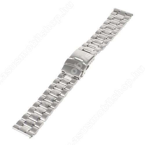 ASUS ZenwatchOkosóra szíj - EZÜST - rozsdamentes acél, 175mm hosszú, 22mm széles - Samsung Gear 2 R380 / Samsung Gear 2 Neo R381 / LG G Watch W100 / LG G Watch R W110 / Asus Zenwatch / MOTOROLA Moto 360 2 42mm