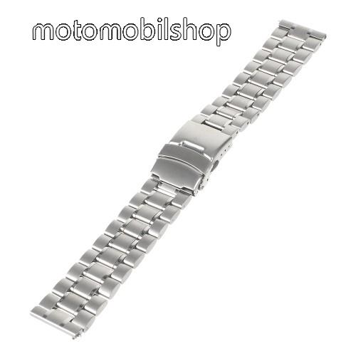 Okosóra szíj - EZÜST - rozsdamentes acél, 175mm hosszú, 22mm széles - Samsung Gear 2 R380 / Samsung Gear 2 Neo R381 / LG G Watch W100 / LG G Watch R W110 / Asus Zenwatch / MOTOROLA Moto 360 2 42mm