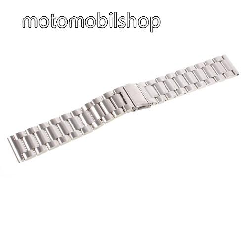 Okosóra szíj - EZÜST - rozsdamentes acél, 170mm hosszú, 22mm széles - SAMSUNG Galaxy Watch 46mm / SAMSUNG Gear S3 Classic / SAMSUNG Gear S3 Frontier