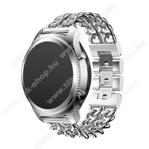 HUAWEI Honor MagicWatch 2 46mmOkosóra szíj - EZÜST - rozsdamentes acél - 22mm széles - SAMSUNG Galaxy Watch 46mm / SAMSUNG Gear S3 Classic / SAMSUNG Gear S3 Frontier