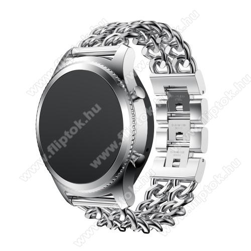 ZTE Watch GTOkosóra szíj - EZÜST - rozsdamentes acél - 22mm széles, 170mm hosszú - SAMSUNG Galaxy Watch 46mm / SAMSUNG Gear S3 Classic / SAMSUNG Gear S3 Frontier