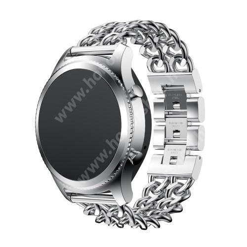 HUAWEI Honor MagicWatch 2 46mm Okosóra szíj - EZÜST - rozsdamentes acél - 22mm széles - SAMSUNG Galaxy Watch 46mm / SAMSUNG Gear S3 Classic / SAMSUNG Gear S3 Frontier