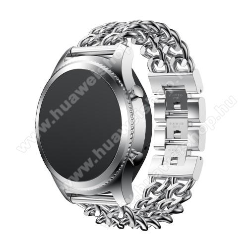 Okosóra szíj - EZÜST - rozsdamentes acél - 22mm széles - SAMSUNG Galaxy Watch 46mm / SAMSUNG Gear S3 Classic / SAMSUNG Gear S3 Frontier