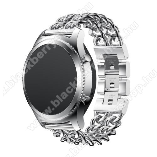 Okosóra szíj - EZÜST - rozsdamentes acél - 22mm széles, 170mm hosszú - SAMSUNG Galaxy Watch 46mm / SAMSUNG Gear S3 Classic / SAMSUNG Gear S3 Frontier