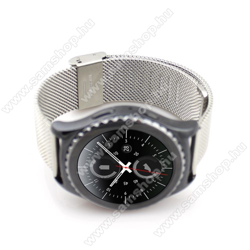 SAMSUNG Galaxy Gear Sport (SM-R600)Okosóra szíj - EZÜST - rozsdamentes acél, csatos - 20mm széles - SAMSUNG Galaxy Watch 42mm / Xiaomi Amazfit GTS / SAMSUNG Gear S2 / HUAWEI Watch GT 2 42mm / Galaxy Watch Active / Active 2
