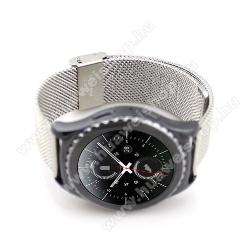Okosóra szíj - EZÜST - rozsdamentes acél, csatos - 20mm széles - SAMSUNG Galaxy Watch 42mm / Xiaomi Amazfit GTS / HUAWEI Watch GT / SAMSUNG Gear S2 / HUAWEI Watch GT 2 42mm / Galaxy Watch Active / Active  2 / Galaxy Gear Sport