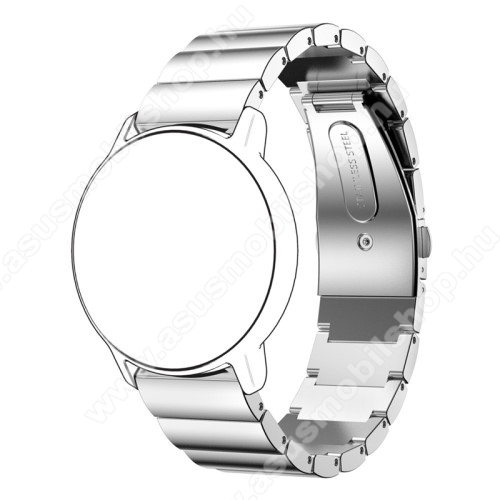 Okosóra szíj - EZÜST - rozsdamentes acél, csatos, 177mm hosszú, 20mm széles - HUAWEI Watch 2 / SAMSUNG Galaxy Watch 42mm / Xiaomi Amazfit GTS / HUAWEI Watch GT / SAMSUNG Gear S2 / HUAWEI Watch GT 2 42mm / Galaxy Watch Active / Active  2 / Galaxy Gear Spor