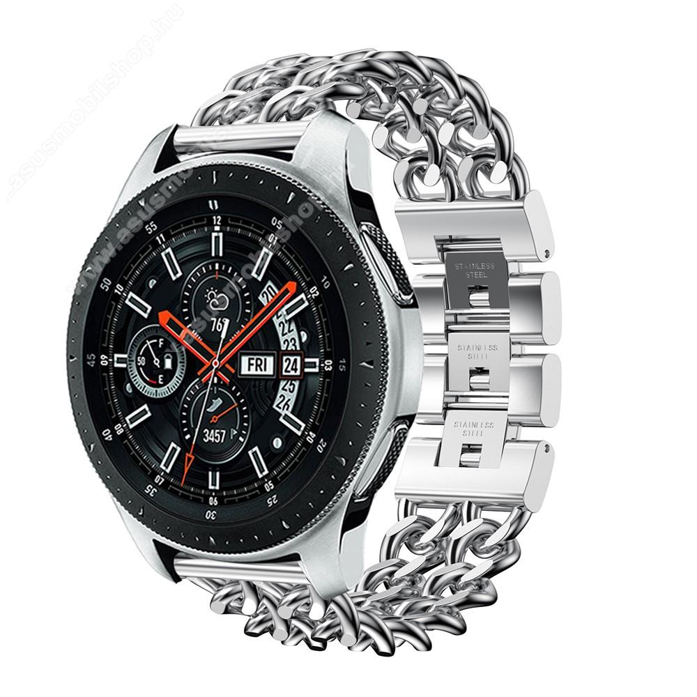 Okosóra szíj - EZÜST - rozsdamentes acél, csatos, 170mm hosszú, 22mm széles, max 208mm-es csuklóra - SAMSUNG Galaxy Watch 46mm / SAMSUNG Gear S3 Classic / SAMSUNG Gear S3 Frontier