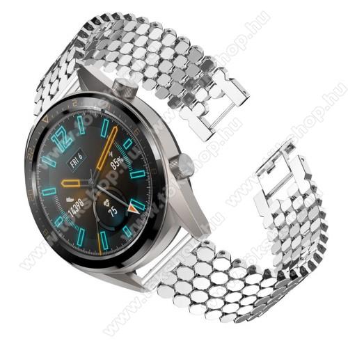 Okosóra szíj - EZÜST - rozsdamentes acél, csatos, 22mm széles - HUAWEI Watch GT / HUAWEI Watch 2 Pro / Honor Watch Magic / HUAWEI Watch GT 2 46mm