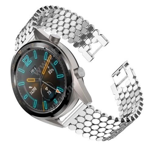 HUAWEI Watch Magic Okosóra szíj - EZÜST - rozsdamentes acél, csatos, 22mm széles - HUAWEI Watch GT / HUAWEI Watch 2 Pro / Honor Watch Magic / HUAWEI Watch GT 2 46mm