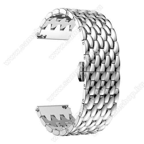 SAMSUNG SM-R760 Gear S3 FrontierOkosóra szíj - EZÜST - rozsdamentes acél, pillangó csat - 185mm hosszú, 22mm széles, 140-200mm átmérőjű csuklóméretig - SAMSUNG Galaxy Watch 46mm / SAMSUNG Gear S3 Classic / Gear S3 Frontier / Honor MagicWatch 2 46mm