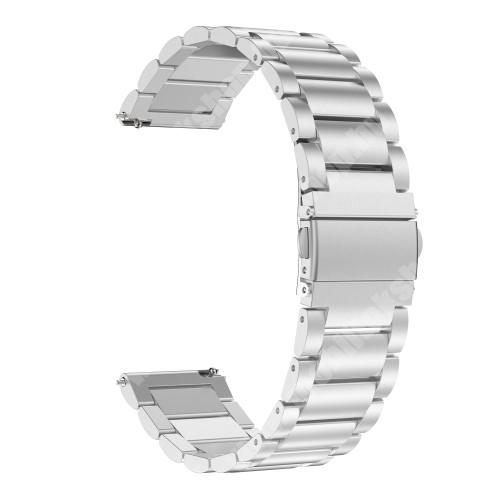 Okosóra szíj - EZÜST- rozsdamentes acél, pillangó csat - 185mm hosszú, 22mm széles, 140-210mm átmérőjű csuklóméretig - SAMSUNG Galaxy Watch 46mm / SAMSUNG Gear S3 Classic / Gear S3 Frontier / Honor MagicWatch 2 46mm