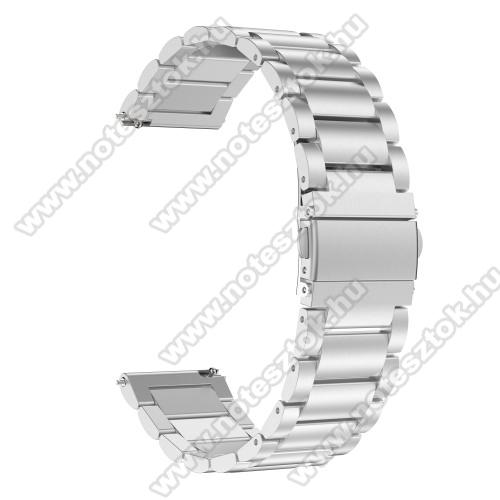 ZTE Watch GTOkosóra szíj - EZÜST- rozsdamentes acél, pillangó csat - 170mm hosszú, 22mm széles, 140-210mm átmérőjű csuklóméretig - SAMSUNG Galaxy Watch 46mm / SAMSUNG Gear S3 Classic / Gear S3 Frontier / Honor MagicWatch 2 46mm