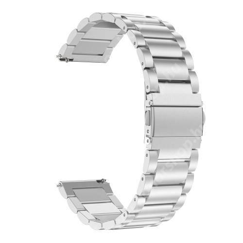 HUAWEI Watch GT 2e Okosóra szíj - EZÜST- rozsdamentes acél, pillangó csat - 170mm hosszú, 22mm széles, 140-210mm átmérőjű csuklóméretig - SAMSUNG Galaxy Watch 46mm / SAMSUNG Gear S3 Classic / Gear S3 Frontier / Honor MagicWatch 2 46mm