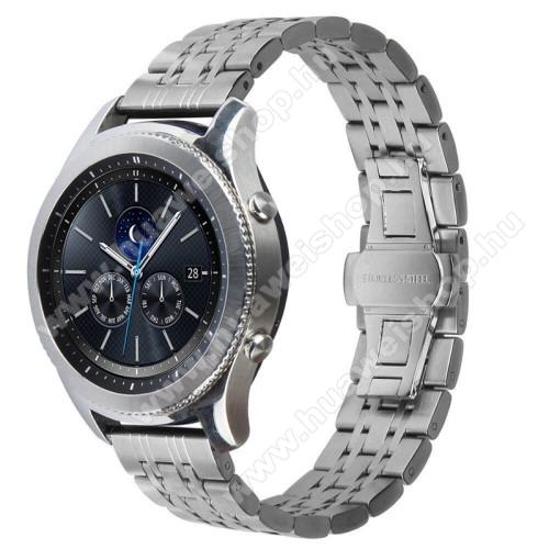Okosóra szíj - EZÜST - rozsdamentes acél, speciális pillangó csat - 22mm széles - SAMSUNG Galaxy Watch 46mm / SAMSUNG Gear S3 Classic / SAMSUNG Gear S3 Frontier