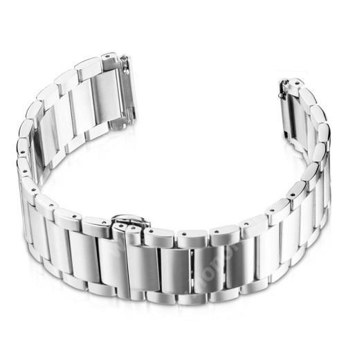 HUAWEI Watch Magic Okosóra szíj - EZÜST - rozsdamentes acél, speciális pillangó csat - 170mm hosszú, 40mm hosszú pillangó csattal 22mm széles - HUAWEI Watch GT / HUAWEI Watch Magic / Watch GT 2 46mm