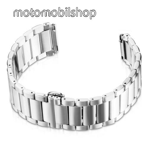 Okosóra szíj - EZÜST - rozsdamentes acél, speciális pillangó csat - 180mm hosszú, 22mm széles - HUAWEI Watch GT / HUAWEI Watch Magic / Watch GT 2 46mm