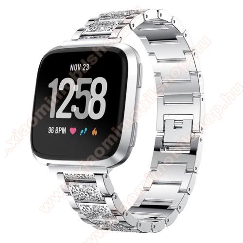 Okosóra szíj - EZÜST - rozsdamentes acél, strassz köves minta, 22mm széles, 170-220mm-ig állítható - HUAWEI Watch GT / SAMSUNG Gear S2 (SM-R720) / HUAWEI Watch GT 2 46mm
