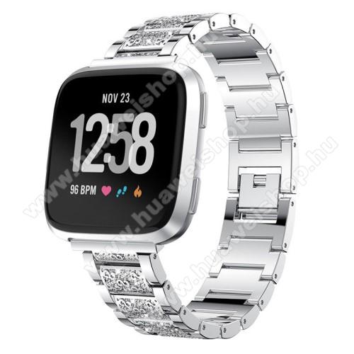 HUAWEI Watch GT 46mmOkosóra szíj - EZÜST - rozsdamentes acél, strassz köves minta, 22mm széles, 170-220mm-ig állítható - HUAWEI Watch GT / SAMSUNG Gear S2 (SM-R720) / HUAWEI Watch GT 2 46mm