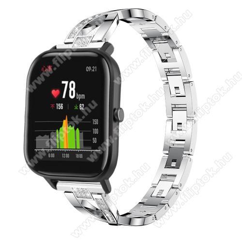 ZTE Watch GTOkosóra szíj - EZÜST - rozsdamentes acél, strassz köves, 22mm széles, 125mm-190mm csuklóméretig ajánlott - HUAWEI Watch GT / HUAWEI Watch Magic / Watch GT 2 46mm