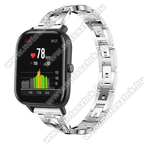 Xiaomi Mi Watch (FOR GLOBAL MARKET)Okosóra szíj - EZÜST - rozsdamentes acél, strassz köves, 22mm széles, 125mm-190mm csuklóméretig ajánlott - HUAWEI Watch GT / HUAWEI Watch Magic / Watch GT 2 46mm