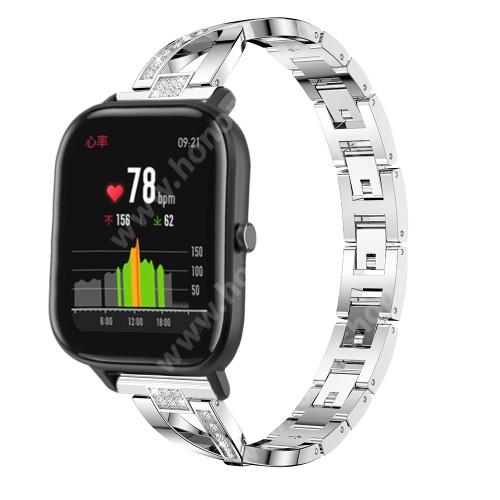 HUAWEI Watch Magic Okosóra szíj - EZÜST - rozsdamentes acél, strassz köves, 22mm széles, 125mm-190mm csuklóméretig ajánlott - HUAWEI Watch GT / HUAWEI Watch Magic / Watch GT 2 46mm