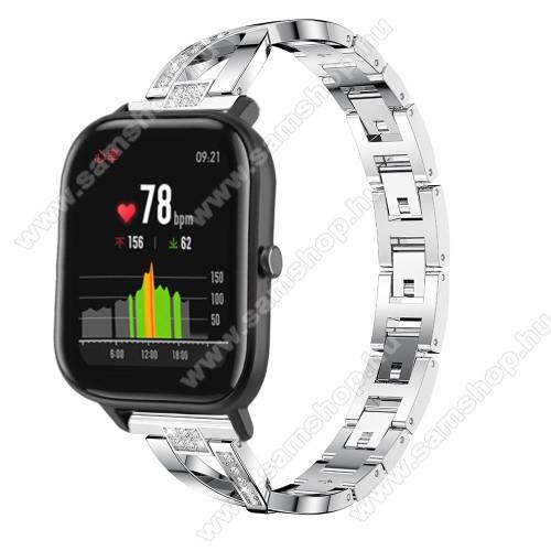 SAMSUNG SM-R760 Gear S3 FrontierOkosóra szíj - EZÜST - rozsdamentes acél, strassz köves, 22mm széles, 125mm-190mm csuklóméretig ajánlott - HUAWEI Watch GT / HUAWEI Watch Magic / Watch GT 2 46mm