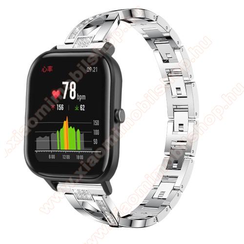 Xiaomi Amazfit Stratos 3Okosóra szíj - EZÜST - rozsdamentes acél, strassz köves, 22mm széles, 125mm-190mm csuklóméretig ajánlott - HUAWEI Watch GT / HUAWEI Watch Magic / Watch GT 2 46mm