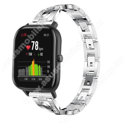 Okosóra szíj - EZÜST - rozsdamentes acél, strassz köves, 22mm széles, 125mm-190mm csuklóméretig ajánlott - HUAWEI Watch GT / HUAWEI Watch Magic / Watch GT 2 46mm