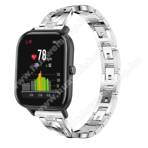 HUAWEI Watch 2 ProOkosóra szíj - EZÜST - rozsdamentes acél, strassz köves, 22mm széles, 125mm-190mm csuklóméretig ajánlott - HUAWEI Watch GT / HUAWEI Watch Magic / Watch GT 2 46mm